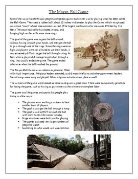 The Mayan Ball Game Article and Questions