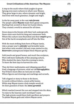 the mayans 7 poem worksheets and puzzle by andy almonte tpt. Black Bedroom Furniture Sets. Home Design Ideas