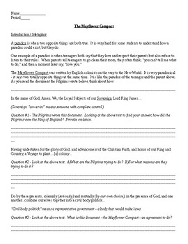 The Mayflower Compact Primary Document Analysis Worksheet