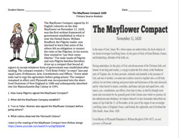 The Mayflower Compact: Primary Source Reading, Introduction, and Activity