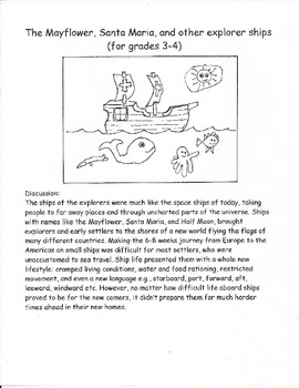 The Mayflower, Santa Maria, & other explorer ships (3-4)