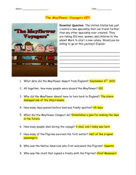 The Mayflower Voyagers Video Guide + Word Search