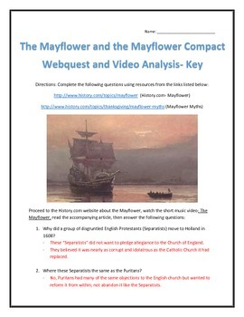 The Mayflower and Mayflower Compact- Webquest and Video Analysis with Key