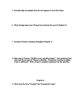 The Maze Runner: 10 Comprehension Guide Packets and 10 Quizzes