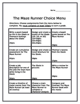 The Maze Runner Choice Menu