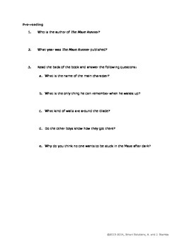 The Maze Runner - Comprehension Questions & Answers