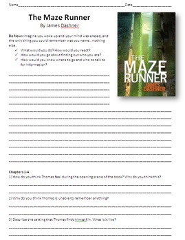 The Maze Runner - Reading Guide, Comprehension Questions a