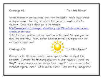 The Maze Runner By J Dashner 12 Project Challeges By Smart Chick