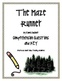 """""""The Maze Runner"""", by J. Dashner, Comprehension Questions and KEY"""