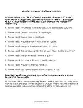 The Maze Runner by James Dashner Assessment Packet