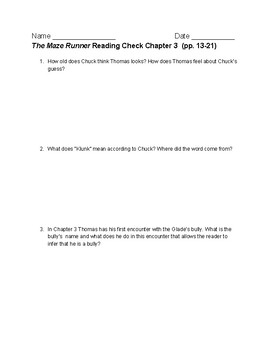 The Maze Runner by James Dashner Comprehension Questions