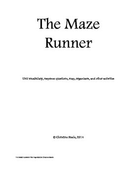 The Maze Runner teaching packet, includes vocabulary packet