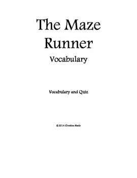 The Maze Runner vocabulary packet