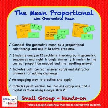 The Mean Proportional (aka Geometric Mean)