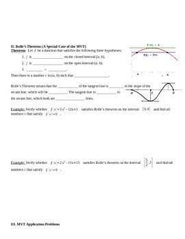 The Mean Value Theorem Notes