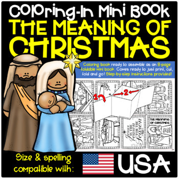 The Meaning of Christmas 8-Page Mini Book (Coloring-In Book) with Instructions