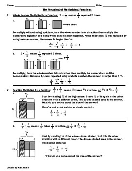 The Meaning of Multiplying Fractions Sheet