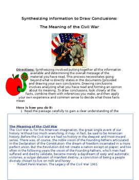 The Meaning of the US Civil War- Synthesizing information  worksheet
