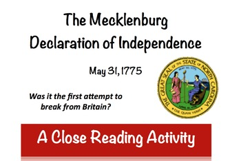 Mecklenburg Declaration of Independence:  Was it the first