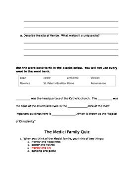 The Medici Family Quiz