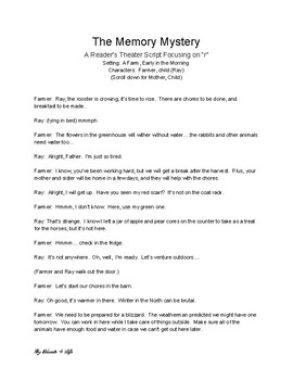"""The Memory Mystery - A Reader's Theater Script for practicing speech with """"r"""""""