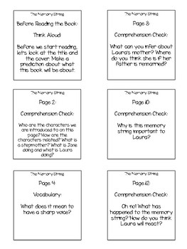 The Memory String Interactive Read Aloud Sticky Note Questions