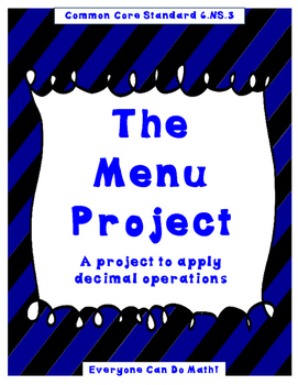 The Menu Project:  A Decimal Project