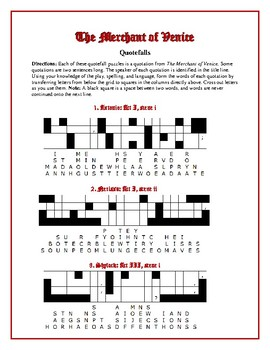 The Merchant of Venice: 10 Quotefall Puzzles—A good spelling workout!