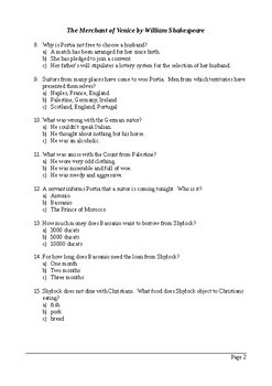 The Merchant of Venice - 100 Question Multiple Choice Quiz / Assessment