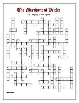 The Merchant of Venice: 50 Elizabethan Words Crossword—Unique!