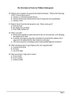 The Merchant of Venice Act 1 - Multiple Choice Quiz