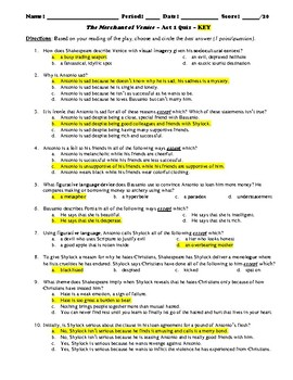 The Merchant of Venice Act 1 Multiple Choice and Short Answer Quiz