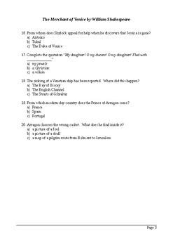 The Merchant of Venice Act 2 - Multiple Choice Quiz
