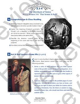 The Merchant of Venice - Act 2, Scenes 3-4: Jessica - ACTIVITIES + ANSWERS