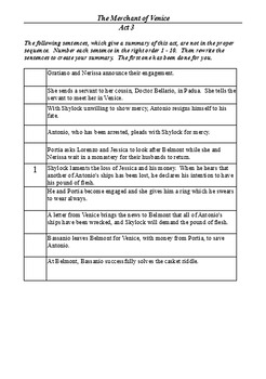 The Merchant of Venice Act 3 - Four Active Learning Tasks (Bundle)