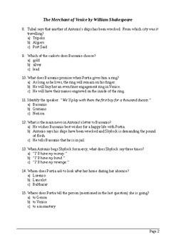 The Merchant of Venice Act 3 - Multiple Choice Quiz