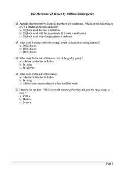 The Merchant of Venice Act 4 - Multiple Choice Quiz