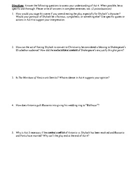 The Merchant of Venice Act 4 Multiple Choice and Short Answer Quiz