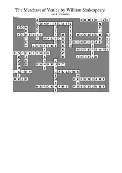 The Merchant of Venice - Act 4 Vocabulary Crossword