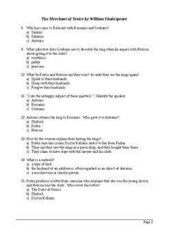 The Merchant of Venice Act 5 - Multiple Choice Quiz