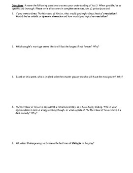 The Merchant of Venice Act 5 Multiple Choice and Short Answer Quiz