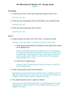 The Merchant of Venice Act I Study Guide and Key
