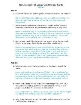 The Merchant of Venice Act II Study Guide and Key