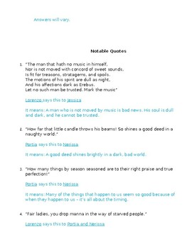 The Merchant of Venice Act V Study Guide and Key