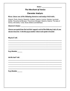 The Merchant of Venice - Character Analysis Activity - William Shakespeare