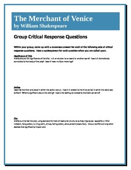 The Merchant of Venice - Shakespeare - Group Critical Response Questions