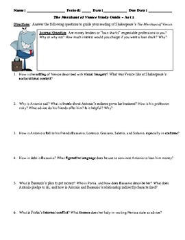 The Merchant of Venice Study Guide Packet