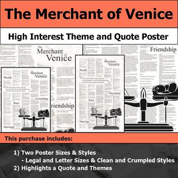 The Merchant of Venice - Visual Theme and Quote Poster for Bulletin Boards