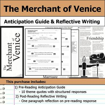 The Merchant of Venice by William Shakespeare - Anticipation Guide & Reflection