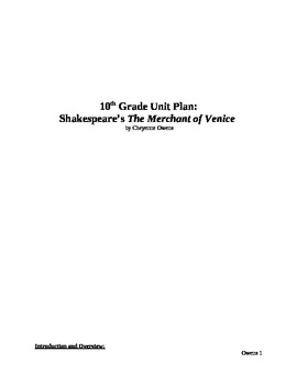 The Merchant of Venice by William Shakespeare Unit Plan